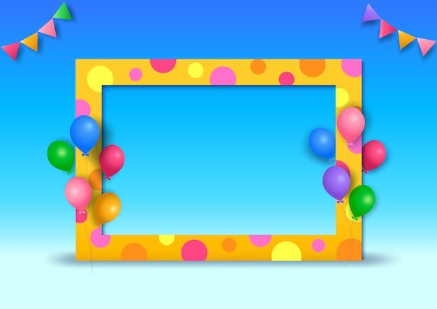 Illustration de la conception d'arrière-plan du parti au style 3d avec cadre à pois et ballons