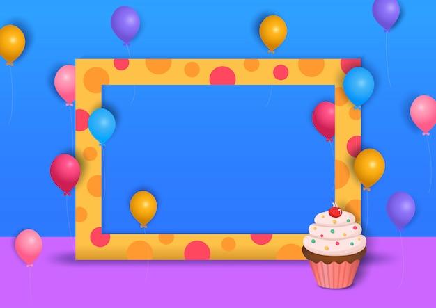 Illustration de la conception d'arrière-plan du parti au style 3d avec cadre à pois et cupcake.