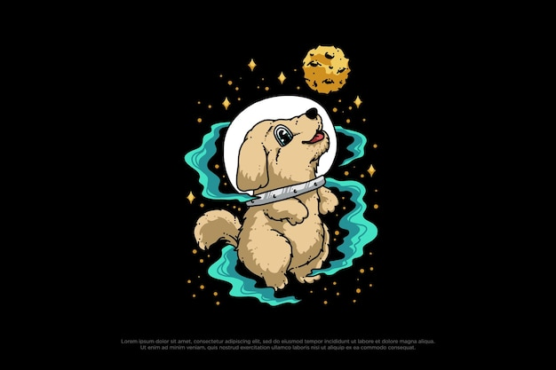 Illustration de conception d'astronaute de chien