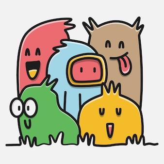 Illustration de conception d'autocollant doodle monstre dessiné à la main