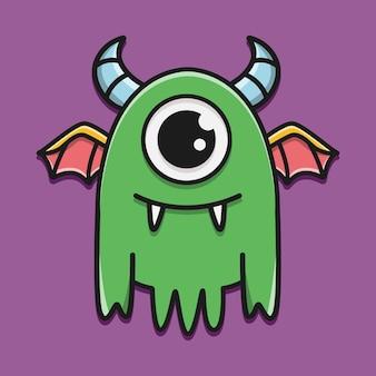 Illustration de conception autocollant monstre dessin animé dessiné à la main