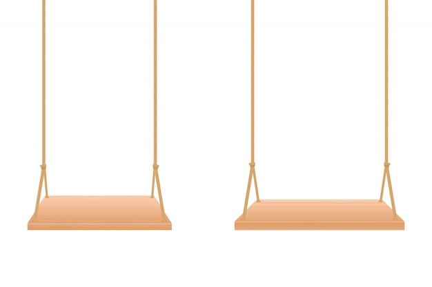 Illustration de conception de balançoire en bois isolée