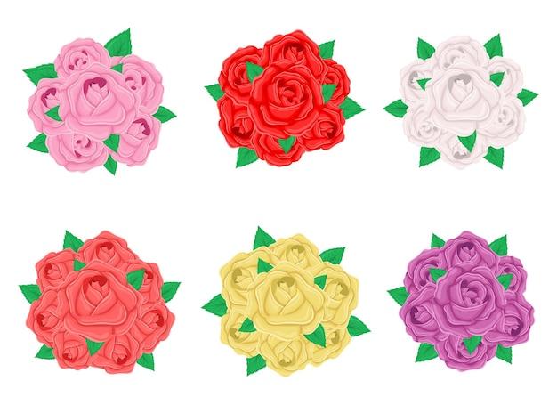 Illustration de conception de bouquet de roses isolée sur fond blanc