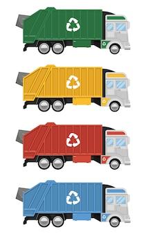 Illustration de conception de camion à ordures isolé sur fond blanc