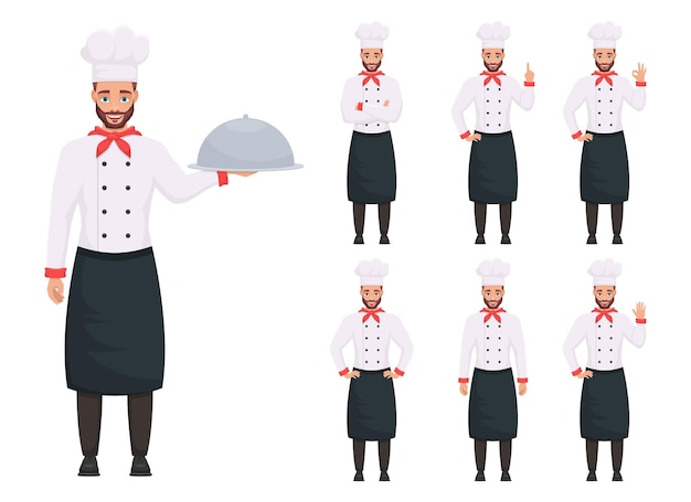 Illustration de conception de chef homme isolé sur fond blanc