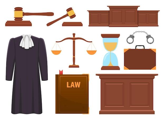 Illustration de conception de collection de juge isolé sur fond blanc
