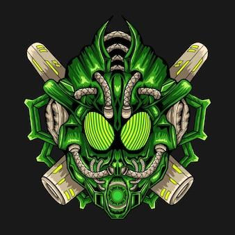 Illustration de conception contemporaine de robot tête verte