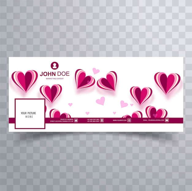 Illustration de conception de la couverture de la saint-valentin abstraite facebook