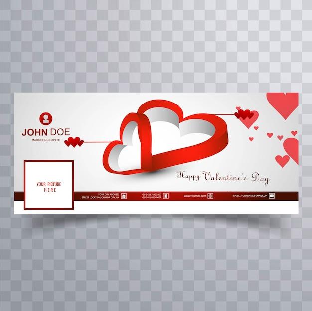 Illustration de conception de la couverture de la saint-valentin abstraite facebook