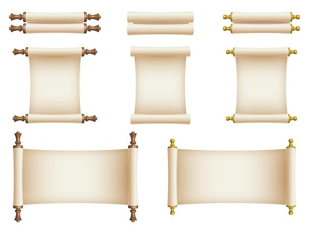 Illustration de conception de défilement de papier isolé sur fond blanc