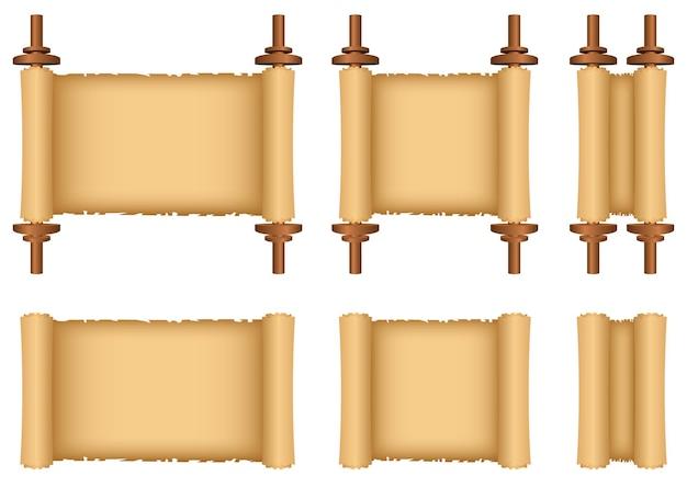 Illustration de conception de défilement de papyrus isolée