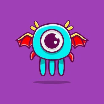 Illustration de conception de dessin animé mignon monstre doodle