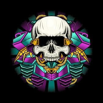 Illustration de la conception détaillée du crâne de cyborg punk
