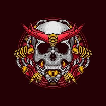Illustration de la conception détaillée de la tête de crâne d'armure cyborg rouge