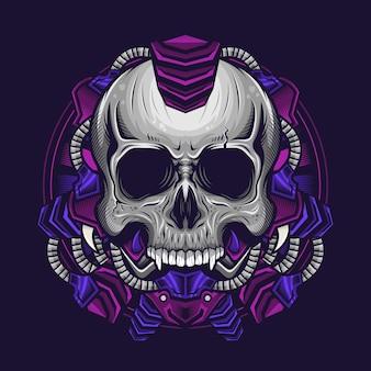 Illustration de la conception détaillée de la tête de crâne punk cyborg