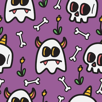 Illustration de conception de doodle halloween dessinés à la main