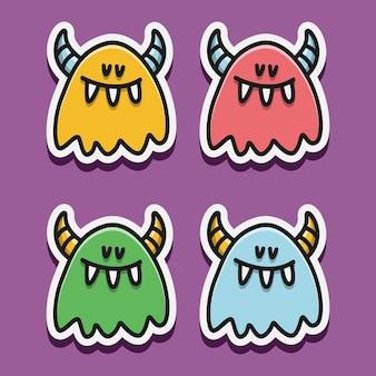 Illustration de conception doodle monstre dessin animé kawaii