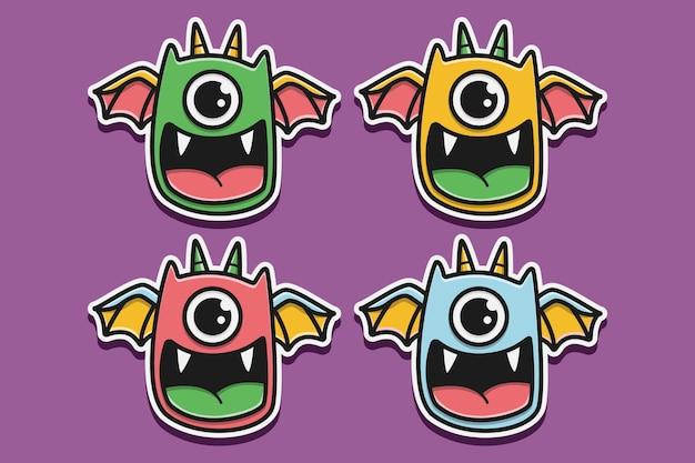 Illustration de conception de doodle monstre dessin animé kawaii