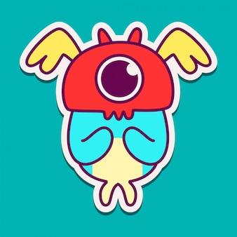 Illustration de conception de doodle monstre kawaii