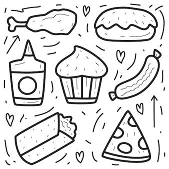 Illustration de conception doodle nourriture dessin animé dessiné à la main