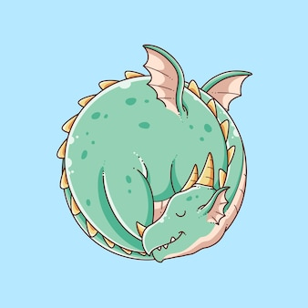 Illustration de conception de dragon mignon dessiné à la main