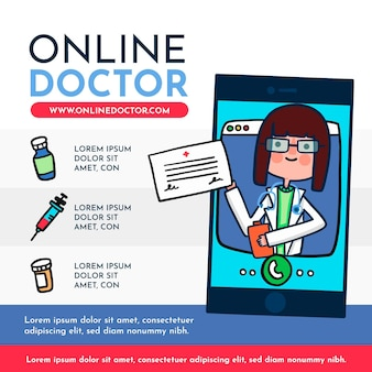 Illustration avec la conception du médecin en ligne