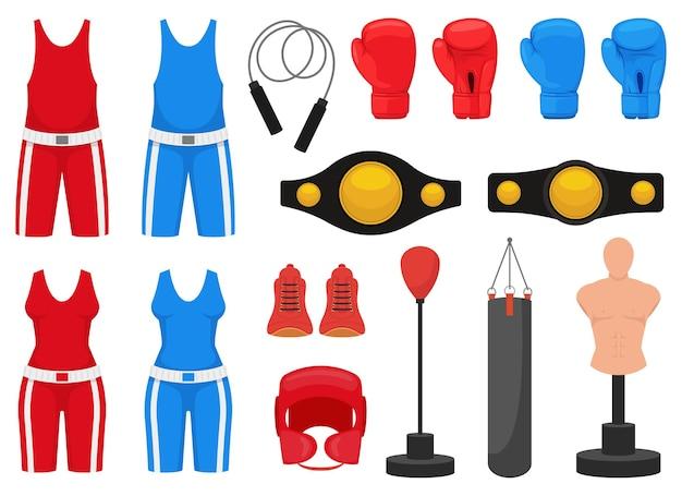 Illustration de conception d'éléments de boxe isolé sur fond blanc