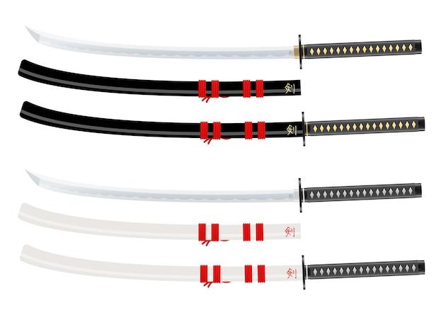 Illustration de conception d'épée katana isolé sur fond blanc