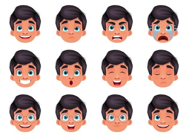 Illustration de conception d'expression de visage de garçon isolé