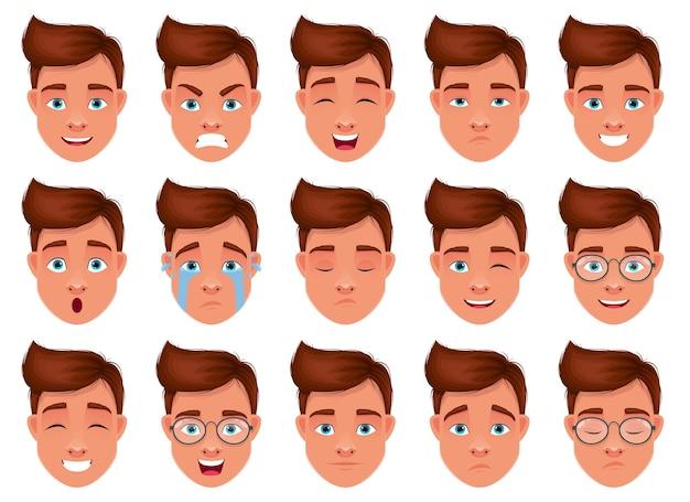 Illustration de conception d'expression de visage d'homme isolée