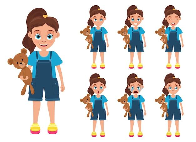 Illustration de conception d'expressions de visage de petite fille isolée