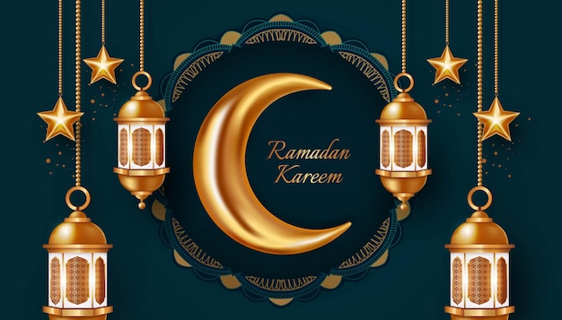 Illustration de conception de fond bannière ramadan kareem