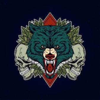 Illustration de conception furieux tête de loup