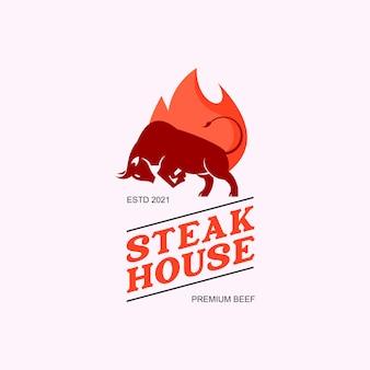 Illustration de conception graphique d'étiquette de logo de steak house