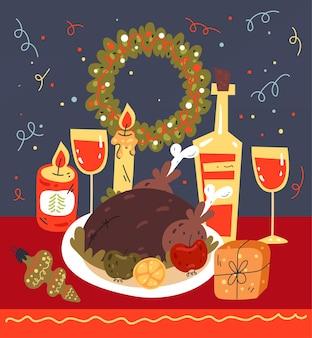 Illustration de conception graphique plate de carte de célébration de plat de dîner de noël