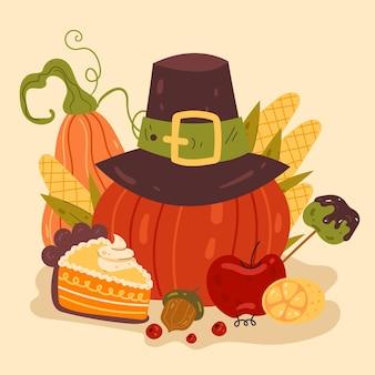 Illustration de conception graphique plate de vecteur de tarte à la citrouille de thanksgiving