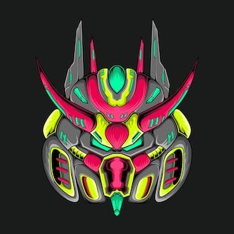 Illustration de conception graphique vectorielle du mécanisme de tête de robot mecha