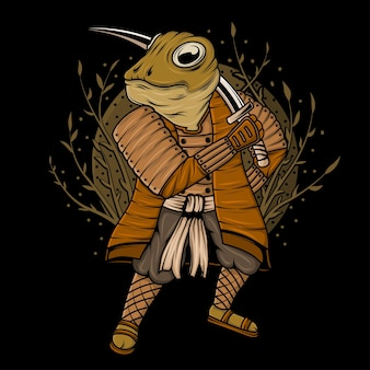 Illustration de conception de grenouille ninja