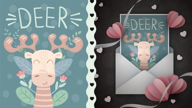 Illustration de conception de gros cerf pour carte de voeux