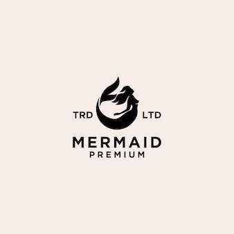 Illustration de conception d'icône de logo de sirène premium