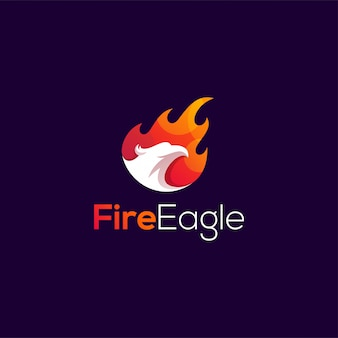 Illustration de conception de logo aigle de feu
