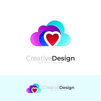 Illustration de conception de logo d'amour et de nuage, icônes simples de coeur, logos de nuage
