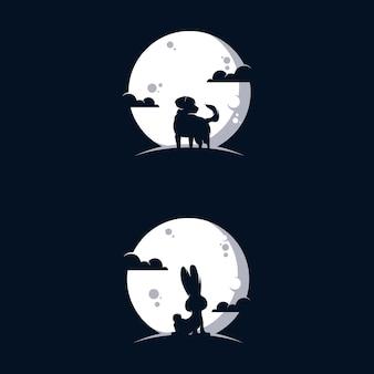 Illustration de conception de logo animaux lune