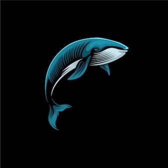 Illustration de conception de logo de baleine bleue