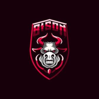 Illustration de conception de logo de bison