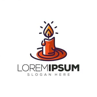 Illustration de conception de logo de bougie