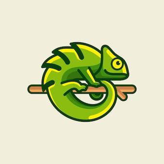 Illustration de conception de logo caméléon
