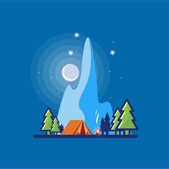 Illustration de conception de logo de camp de nuit