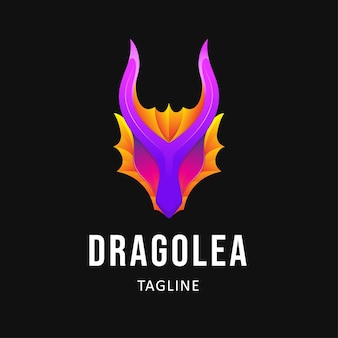 Illustration de conception de logo dragon coloré