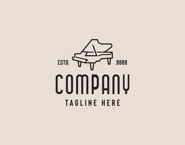 Illustration de conception de logo élégant piano à queue